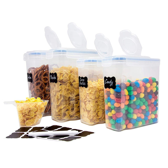5 pc. Pop Up Set Clear Food Containers w Airtight Lids for Kitchen and Pantry Storages - Storage for Cereal, Flour, Cooking - BPA-Free Plastic Guru Products