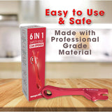 6 in 1 Safety Edge Manual Can Opener, Jar Opener, Bottle Opener, Twist Top Opener, Pull Tab Pry & Lid Pry - Replace Six Kitchen Tools & Say Goodbye To Sharp Can Lids - The Everything Opener