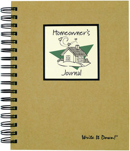 "Journals Unlimited ""Write it Down!"" Series Guided Journal, Homeowner's Journal, with a Kraft Hard Cover, Made of Recycled Materials, 7.5""x 9"""