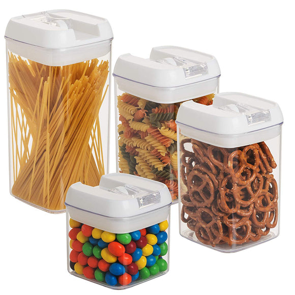 4 pc. Set Clear Food Containers w Airtight Lids Canisters for Kitchen & Pantry Storages - Storage for Cereal, Flour, Cooking - BPA Free Plastic Guru Products