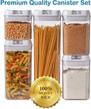 5 pc. Set Clear Food Containers w Airtight Lids Canisters for Kitchen & Pantry Storages - Storage for Cereal, Flour, Cooking - BPA-Free Plastic White Lid by Guru Products