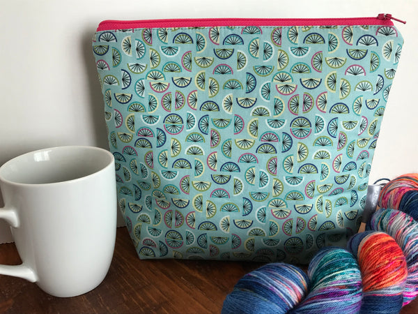 Small Zippered Project Bag/ Sock Project Bag