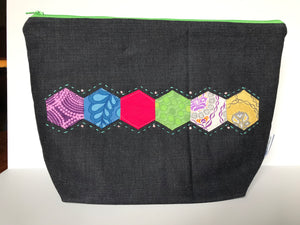 Large Zippered Project Bag - Hexi Pattern