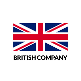 Flag of Great Britain with label British Company