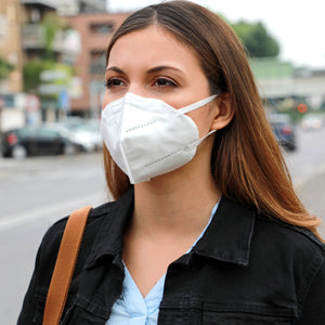 Woman wearing KN95 face mask