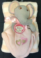 Sweet & Soft - Baby Blanket & Joy the Elephant - Blue and pink