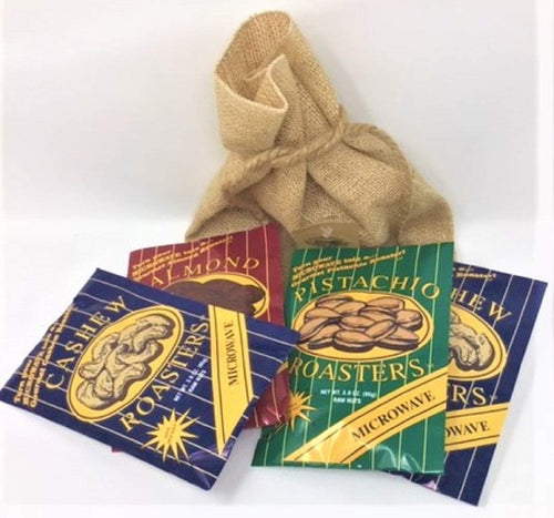 Fairhope Favorites Microwave Nuts In A Burlap Gift Bag (4 Pack) 2 pk Cashew,1 Pk Pistachio & 1 Pk Almond (Each 3 Ounce)