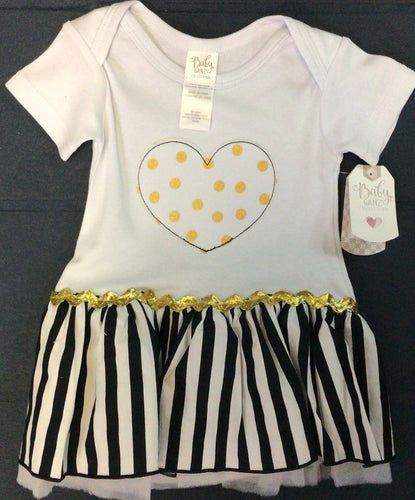 Ganz - Blk/Wht/Gold Heart Infant Dress with Built in Onesie 0-6 Mos.
