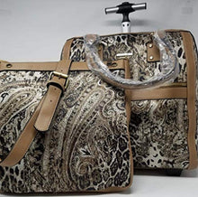 Load image into Gallery viewer, Simply Noelle Office On The Go Rolling Luggage In Animal Paisley In BROWN JAVA PRINT