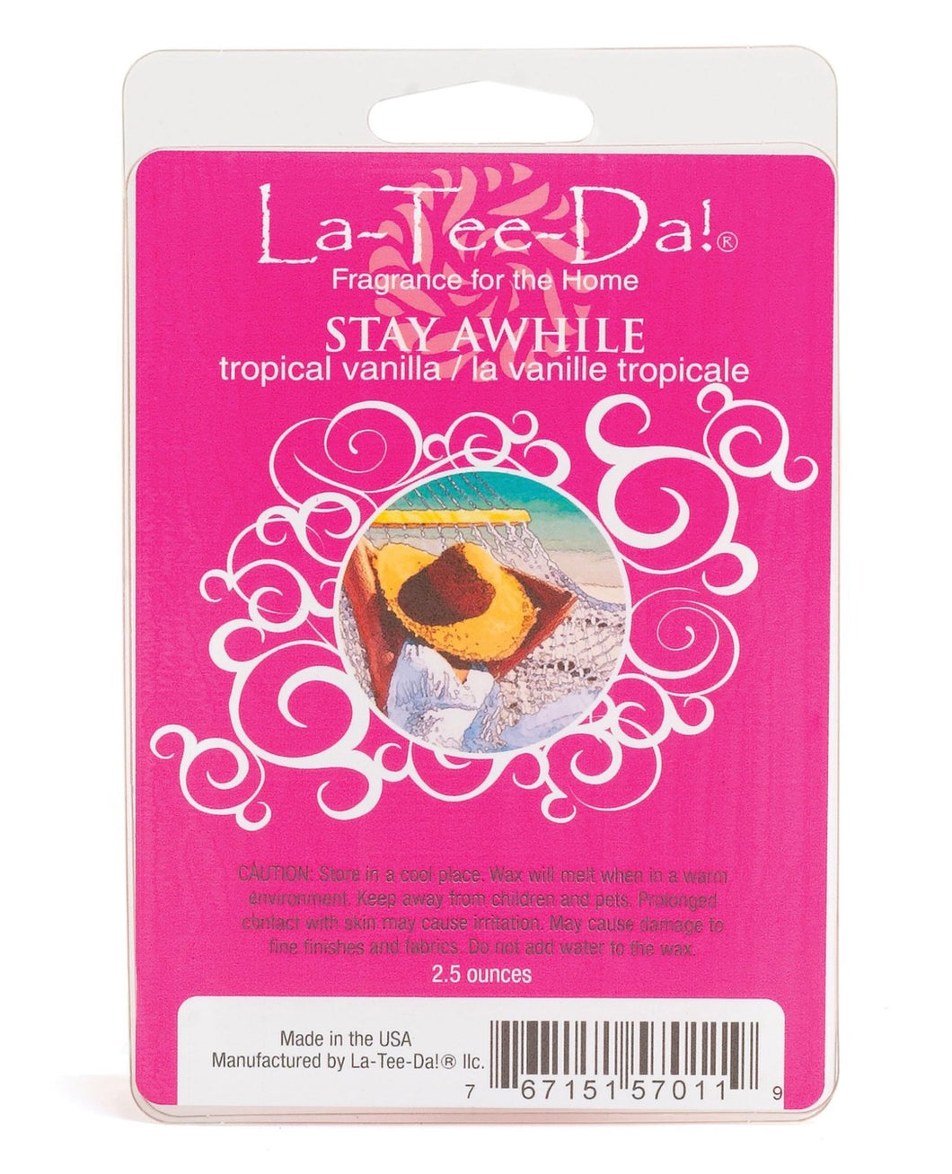 LA-TEE-DA! - WAX MELT - STAY AWHILE - TROPICAL VANILLA - 2.5 OZ
