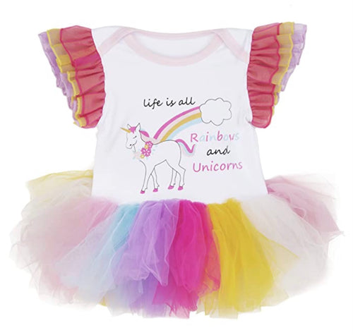 Ganz Baby - Life Is All Rainbow And Unicorns Diaper Shirt- 0-6 Months