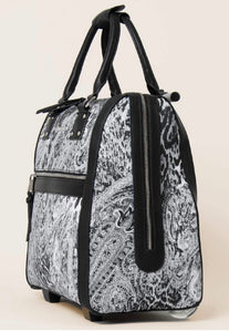 Simply Noelle Office On The Go Rolling Luggage In Animal Paisley In BROWN JAVA PRINT