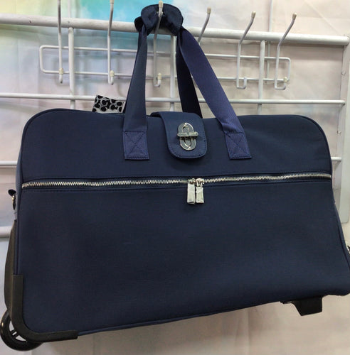 Simply Noelle Navy Nylon Rolling Duffle Bag