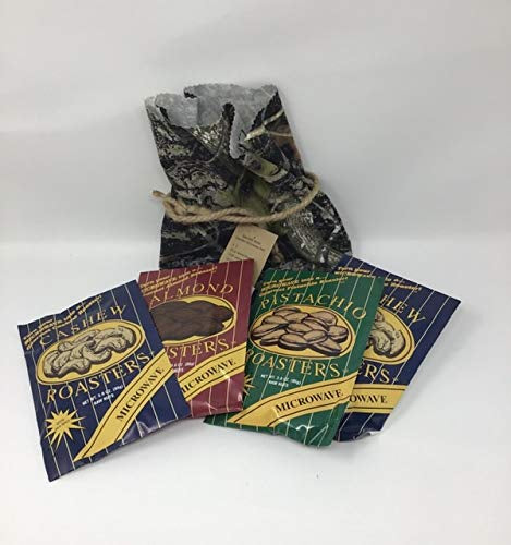 Fairhope Favorites Microwave Nuts In A Camo Gift Bag (4 Pack) 2 pk Cashew,1 Pk Pistachio & 1 Pk Almond (Each 3 Ounce)