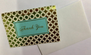 Punch Studio - Gold Circle - Thank You Cards - 12 Pk Blank Cards & Envelopes