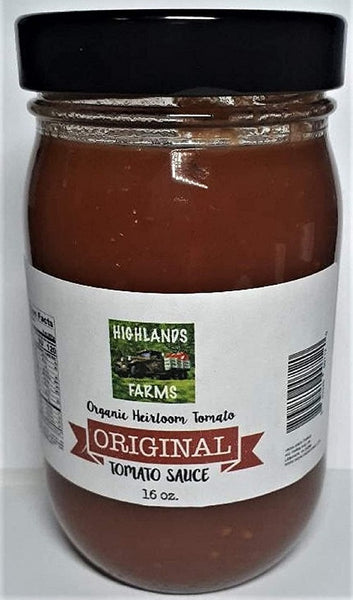 Highlands Farms - Original Tomato Sauce - 16 oz Jar - Made From Organic Heirloom Tomatoes