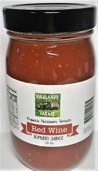 Highlands Farms - Red Wine Tomato Sauce - 16 oz Jar - Made From Organic Heirloom Tomatoes