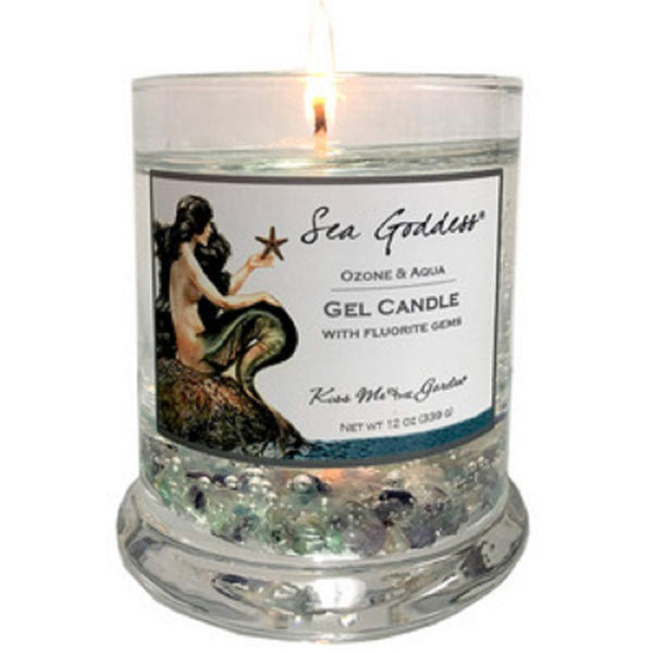Kiss Me in the Garden - Sea Goddess Collection - Gel Candle with Real Fluorite Gemstones-  Kiss00064