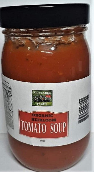 Highlands Farms - Tomato Soup - 16 oz Jar - Made From Organic Heirloom Tomatoes