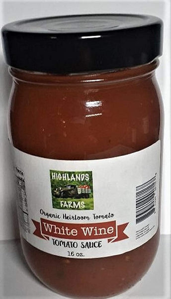 Highlands Farms - White Wine Tomato Sauce - 16 oz Jar - Made From Organic Heirloom Tomatoes