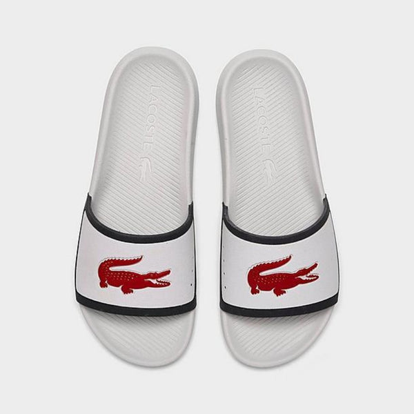 Lacoste - Men's Croco Water-Repellent Slides WHT/NVY/RED