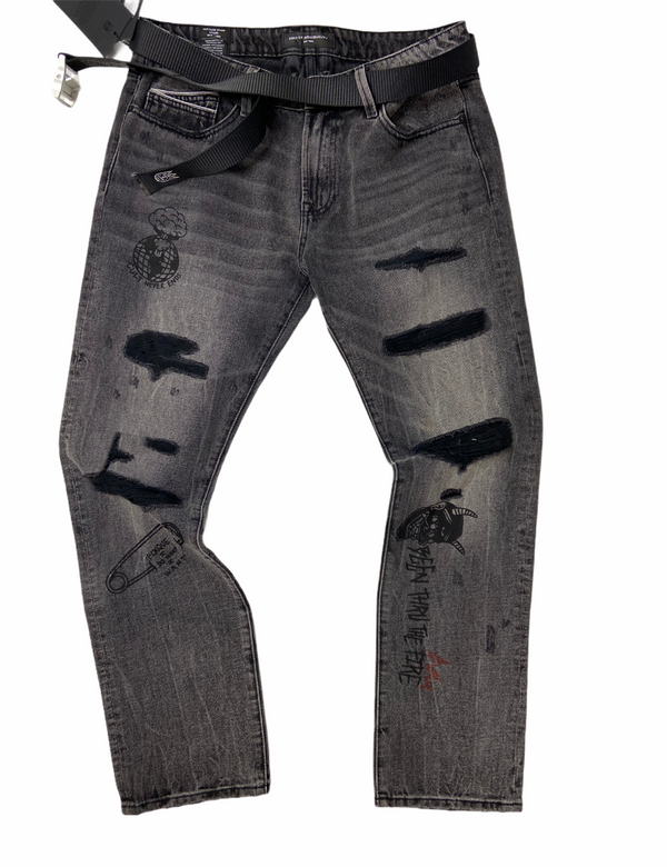 Cult Rocker Slim Belted Jeans Grey Rs03b