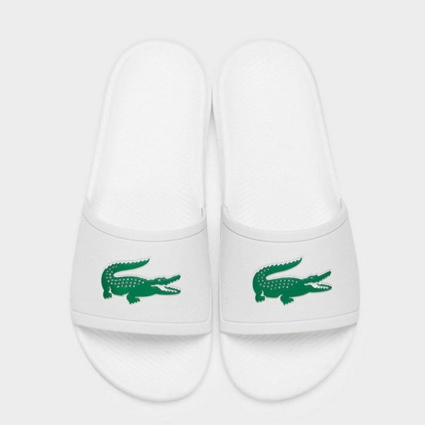 Lacoste - Men's Croco Water-Repellent Slides WHT/GRN