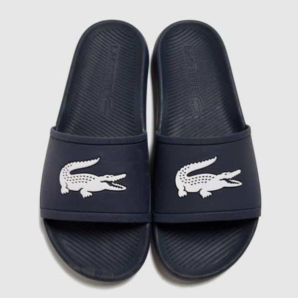 Lacoste - Men's Croco Water-Repellent Slides NVY/WHT