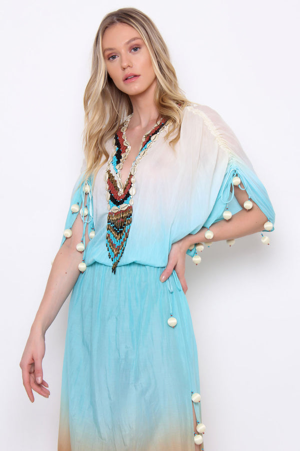 KAFTAN DEGRADÊ COM FENDA