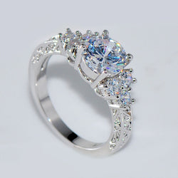 Fashion Colorful Crystal Zircon Silver Women Ring Flower Ring Size 6//7//8//9//10
