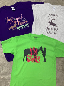 Horse T-Shirts - Choice of multi-color Just a Girl Who Loves Horses, Chin Up Heels Down, or black/pink Just a Girl Who Loves Horses