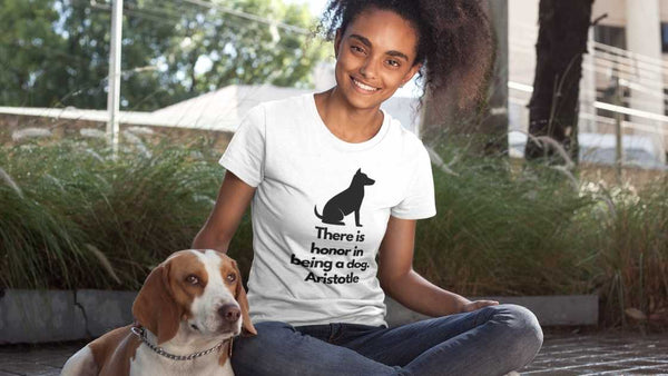 Dog lover T Shirt with Greek Philosophy Quote about dogs