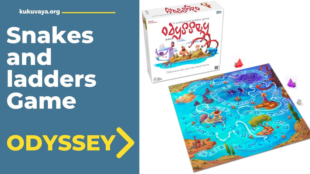 The odyssey board game is a snakes an laders game telling the story of Homer's odyssey
