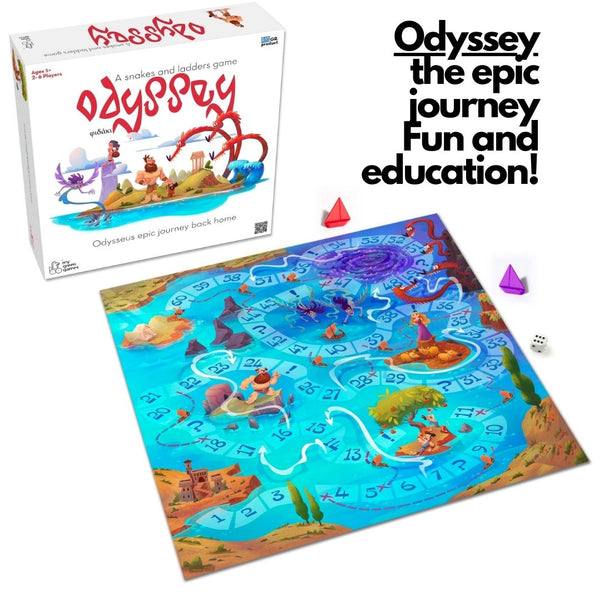 Gift for Greek family - Odyssey Chutes and ladders educational Greek board game