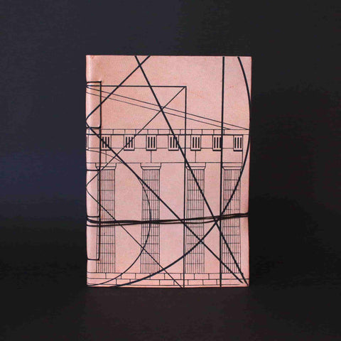 Leather journal made from goatskin. Handmade notebook with waxed thread. Theme from ancient Greek art and the concept of the golden ratio and Greek architecture aesthetics