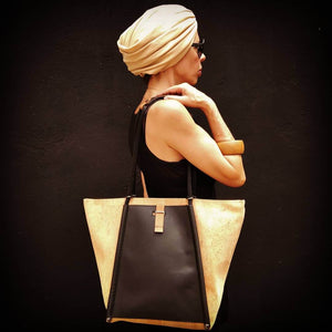Black cork leather tote black cork fabric backpack bag and purse in Katakolon shop