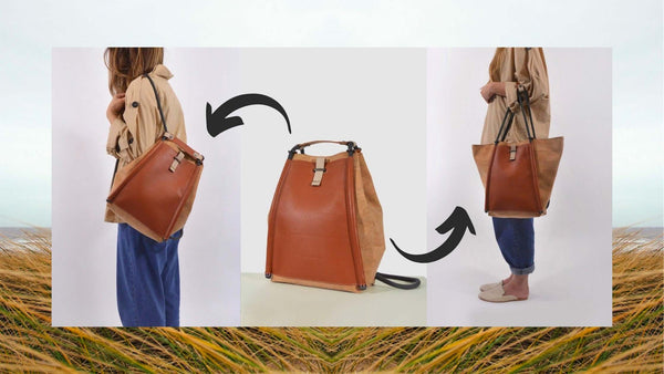 girl showing cork fabric and leather bag transforming from backpack to tote