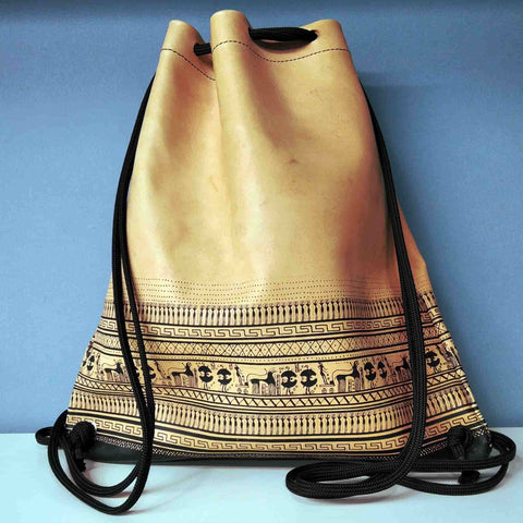 Geometric period leather backpack gift for archaeologist