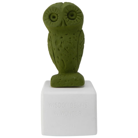Owl figurine based on owl of Athens statues in olive green color