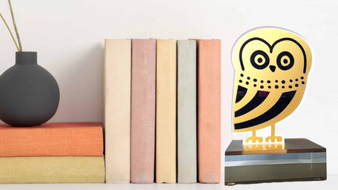 owl plexiglass book end with books decoration