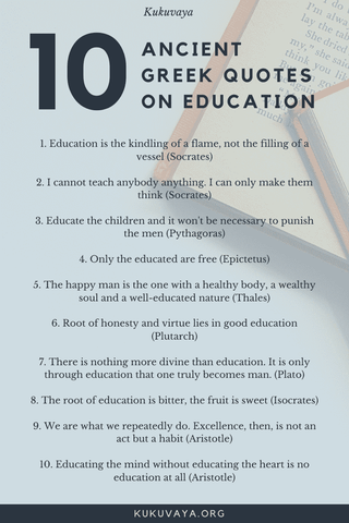 10 quotes of wisdom by greek philosophers about education poster