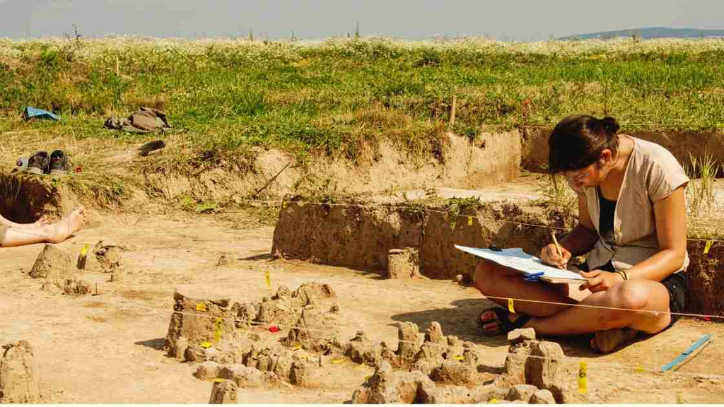Female archaeologist in the field - gifts for female archaeologist