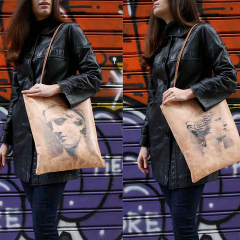 Goat leather bag with silkscreen print inspired by ancient Greek art ind urban style