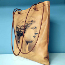 Load image into Gallery viewer, Aphrodite of Milos and Diadumenos tote bag - Cretan goat leather
