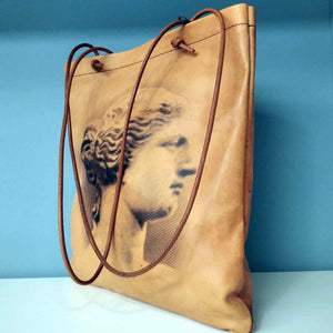 Aphrodite of Milos and Diadumenos tote bag - Cretan goat leather