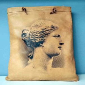 Aphrodite of Milos and Diadumenos tote bag - Cretan goat leather - Aphrodite side
