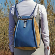 Load image into Gallery viewer, cork backpack blue cork fabric leather backpack