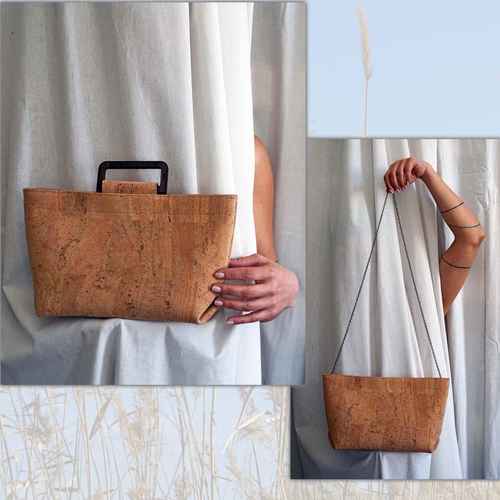 corkor väska - Cross body cork fabric clutch and purse made of fine cork and a wooden laser-cut bracelet