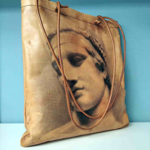 Diadumenos sculpture - Aphrodite of Milos and Diadumenos tote bag - Cretan goat leather