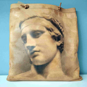 Aphrodite of Milos and Diadumenos tote bag - Cretan goat leather - Diadumenos side
